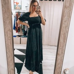 ASOS Black Maxi Rouched Puff Sleeve Dress Size 0
